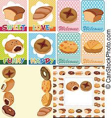 dessin animé, carte, pain