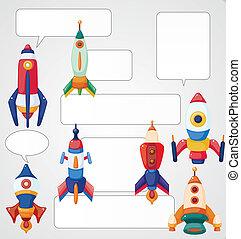 dessin animé, carte, vaisseau spatial