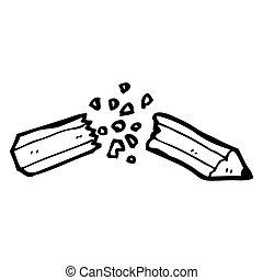dessin animé, cassé net, crayon