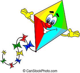 dessin animé, cerf volant