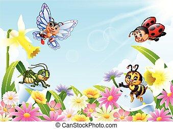 dessin animé, champ, fleur, insectes