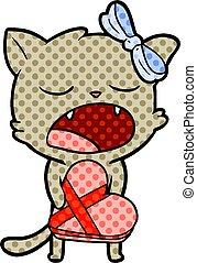 dessin animé, chat, à, valentines, cadeau
