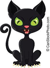 dessin animé, chat noir