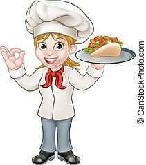 Chef cuistot brochette chiche kebab handdrawn vecteur for Cuisinier kebab