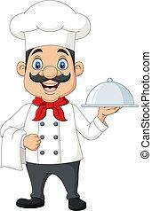 dessin animé, chef cuistot, argentez plateau, moustache, tenue, rigolote