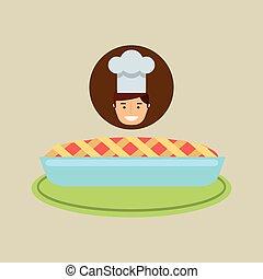 dessin animé, chef cuistot, dessert, frais, gâteau, bleu, crème
