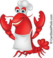dessin animé, chef cuistot, mignon, homard