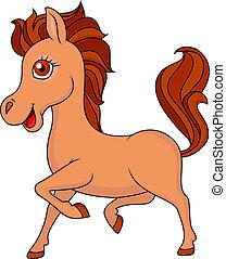 dessin animé, cheval, brun