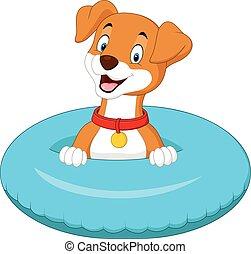 dessin animé, chien, à, anneau gonflable