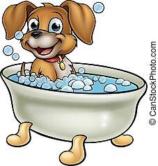 dessin animé, chien, bain
