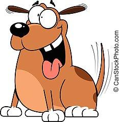 dessin animé, chien, excité