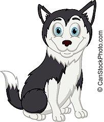 dessin animé, chien, husky