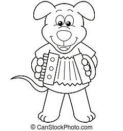dessin animé, chien, jouer, accordéon