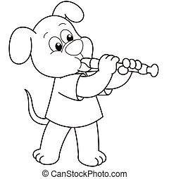 dessin animé, chien, jouer, hautbois