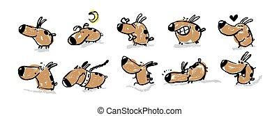 dessin animé, chiens