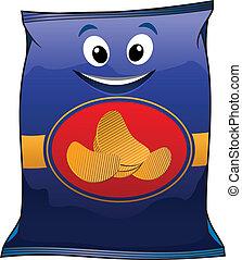 dessin animé, chips, pomme terre