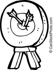 dessin animé, cible tir arc