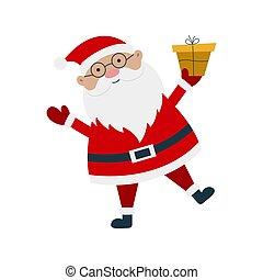 dessin animé, claus, caractère, cadeau, santa