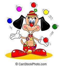 dessin animé, clown, chien