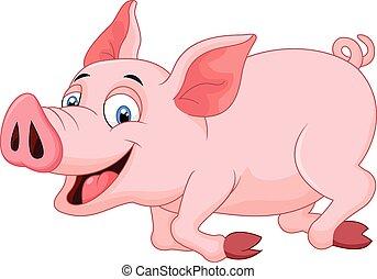 dessin animé, cochon, courant