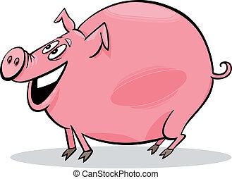dessin animé, cochon