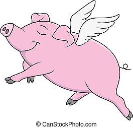 dessin animé, cochon, voler