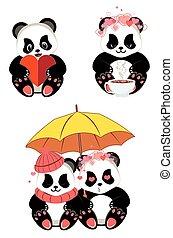dessin animé, coeur, panda