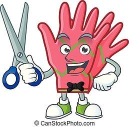 dessin animé, coiffeur, heureux, mascotte, caractère, noël, style, gants