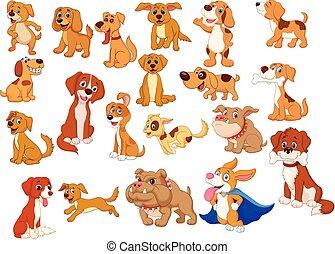 dessin animé, collection, chiens