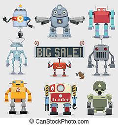 dessin animé, collection, robots