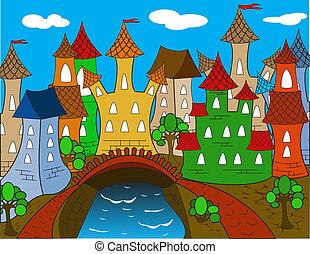 dessin animé, coloré, maison ville