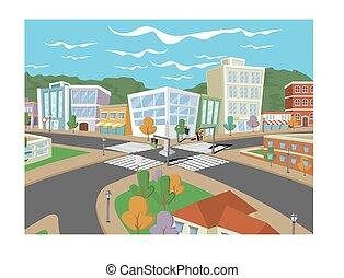 dessin animé, coloré, ville