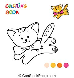 dessin animé, coloration, contour, cat., page