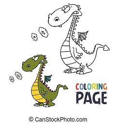 dessin animé, coloration, dinosaure, page