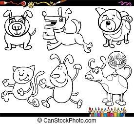 dessin animé, coloration, ensemble, chiens, page