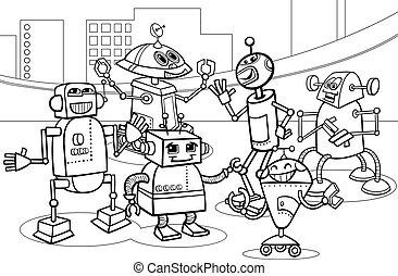 dessin animé, coloration, groupe, robots, page