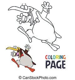 dessin animé, coloration, manchots, page