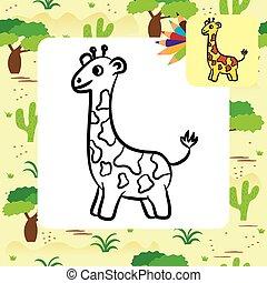 dessin animé, coloration, page, giraffe.