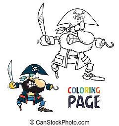 dessin animé, coloration, pirate, page