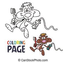 dessin animé, coloration, souris, page