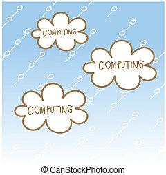 dessin animé, concept, dessin, nuage, calculer