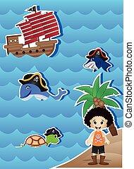 dessin animé, conception, ton, pirates