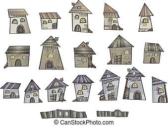 dessin animé, conte, maisons, vecteur, fée, dessin