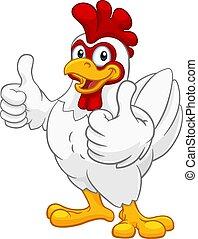 dessin animé, coquelet, caractère, coq, poulet