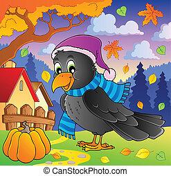 dessin animé, corbeau, thème, image, 2