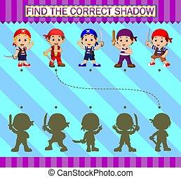 dessin animé, correct, trouver, caractères, shadow., pirates