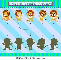 dessin animé, correct, trouver, lion, shadow., mignon