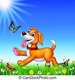 dessin animé, courant, chien, fond, nature