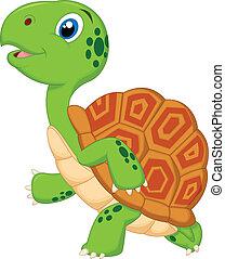 dessin animé, courant, tortue, mignon