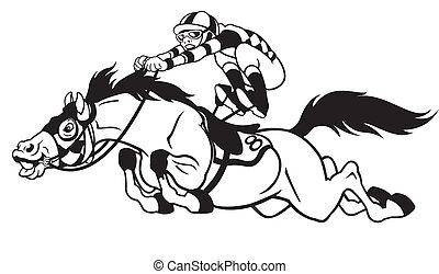 dessin animé, course chevaux